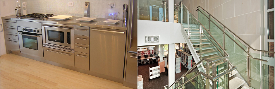 Stainlesss steel staircase with laminated glass staicase steps and modern stainless steel kitchen cabinet